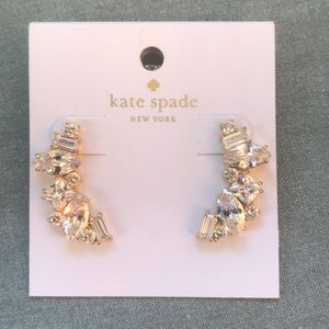 Kate Spade rhinestones crescent earrings